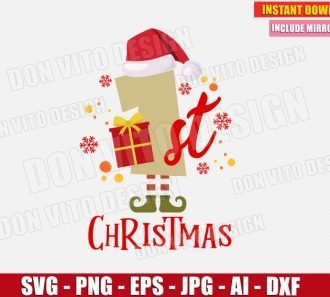 1st Christmas Number (SVG dxf png) cut files PNG image vector clipart - DonVitoDesign Store