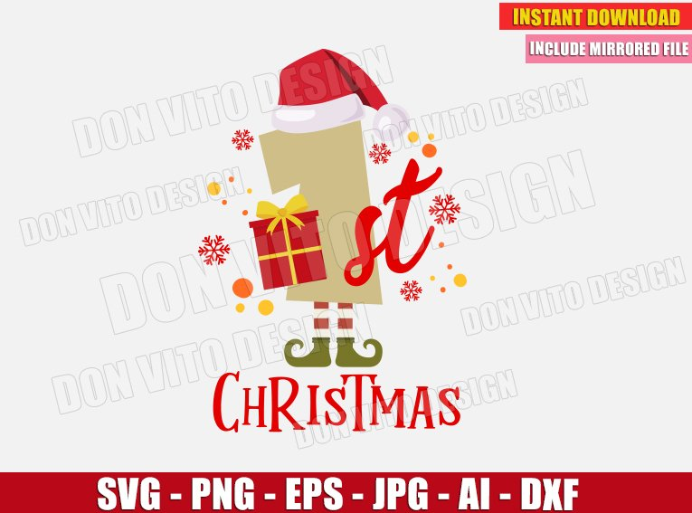 1st Christmas Number Svg Dxf Png My First Merry Xmas Gift Cut Files