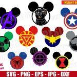 Avengers Endgame Mickey Head Bundle (SVG dxf png) Disney Movie Logo End Game Cut Files Vector Clipart T-Shirt Thanos Captain Marvel Ears DIY