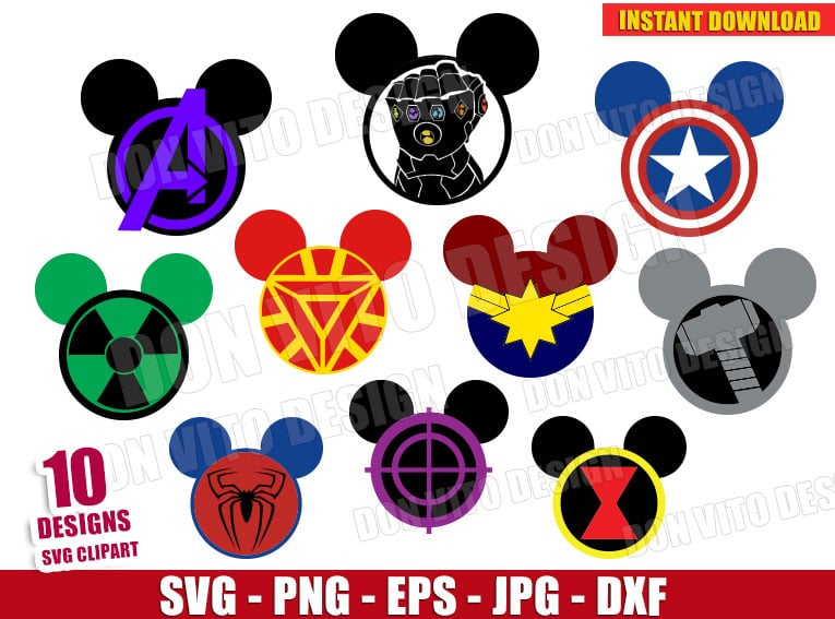 avengers endgame mickey head bundle svg dxf png disney cut files avengers endgame mickey head bundle