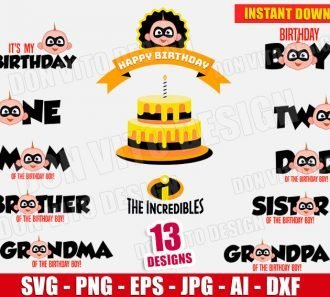 Bundle The Incredibles Birthday Boy SVG cut files PNG image vector clipart - DonVitoDesign Store