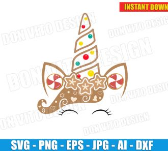 Christmas Gingerbread Unicorn Face (SVG dxf png) cut files PNG image vector clipart - DonVitoDesign Store