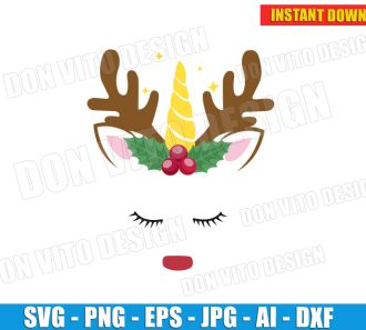 Christmas Rudolph Unicorn Face (SVG dxf png) cut files PNG image vector clipart - DonVitoDesign Store
