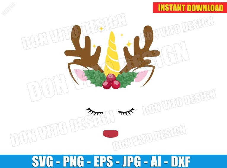 Christmas Rudolph Unicorn Face Svg Dxf Png Cute Reindeer Head Cut