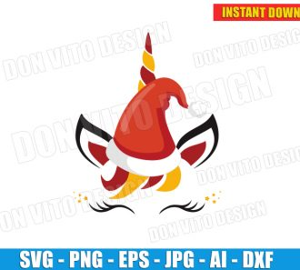 Christmas Santa Claus Unicorn Face (SVG dxf png) cut files PNG image vector clipart - DonVitoDesign Store