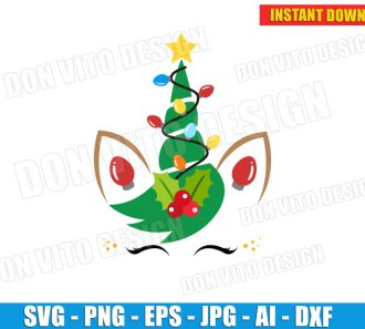 Christmas Tree Unicorn Face (SVG dxf png) cut files PNG image vector clipart - DonVitoDesign Store