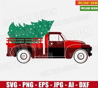 Christmas Truck with Tree Buffalo Plaid (SVG dxf png) cut files PNG image vector clipart - DonVitoDesign Store
