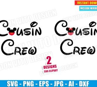 Cousin Crew Mickey & Minnie Mouse SVG dxf png cut files image vector clipart - DonVitoDesign Store -