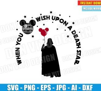 Darth Vader When You Wish Upon a Death Star (SVG dxf png) Star Wars cut files PNG image vector clipart - DonVitoDesign Store