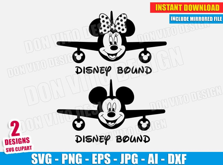 Disney Bound Svg Dxf Png Mickey Minnie Mouse Planes Ears Cut Files