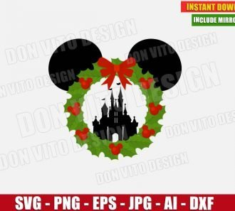 Disney Castle Christmas Wreath (SVG dxf png) -cut files PNG image vector clipart - DonVitoDesign Store