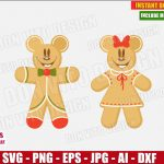Disney Christmas Gingerbread (SVG dxf png) Mickey & Minnie Mouse Head Ears Bow Cookie Cut Files Vector Clipart T-Shirt Design Baby Boy Girl