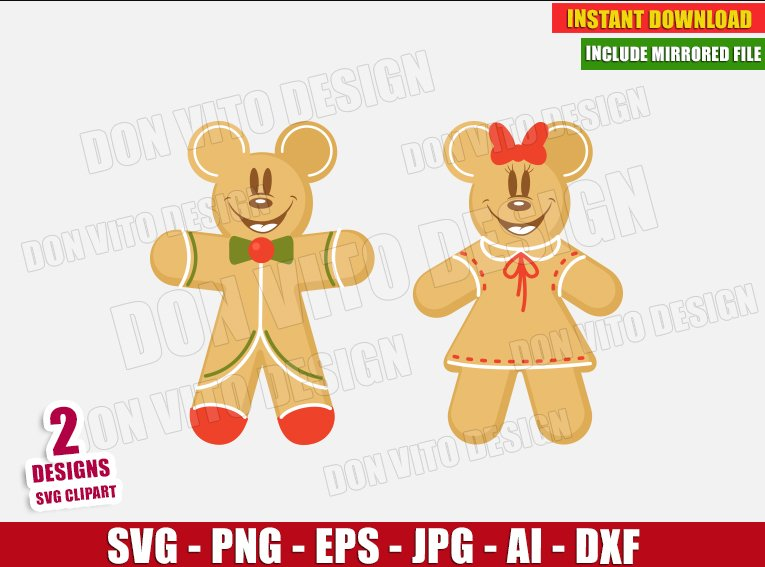Disney Christmas Gingerbread (SVG dxf png) cut files PNG image vector clipart - DonVitoDesign Store