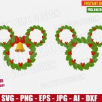 Disney Christmas Wreath (SVG dxf png) Mickey & Minnie Mouse Head Ears Bow Bell Xmas Holiday Cut Files Vector Clipart T-Shirt Design Boy Girl