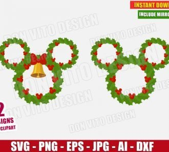 Disney Christmas Wreath (SVG dxf png) cut files PNG image vector clipart - DonVitoDesign Store