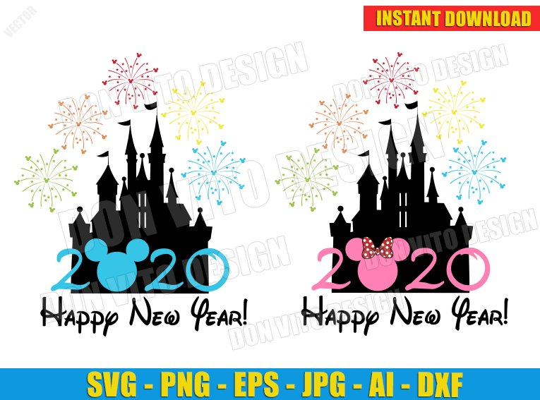 Disney Happy New Year 2020 (SVG dxf png) Castle Fireworks ...