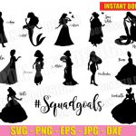 Disney Princess #Squadgoals (SVG dxf png) Squad Goals Vector Clipart Cut Files Silhouette Cricut T-Shirt Design Frozen Belle Ariel Mulan DIY