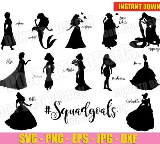 Disney Princess #Squadgoals (SVG dxf png) cut files png image vector clipart - DonVitoDesign Store