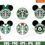 Disney Starbucks Coffee Logo Bundle (SVG dxf png) Mickey & Minnie Mouse Ears Bow Head Siren Cut Files Vector Clipart T-Shirt Design Boy Girl