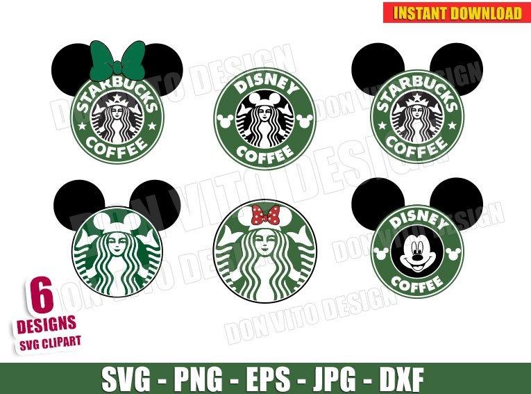 Disney Starbucks Coffee Logo Bundle Svg Dxf Png Mickey Mouse Cut