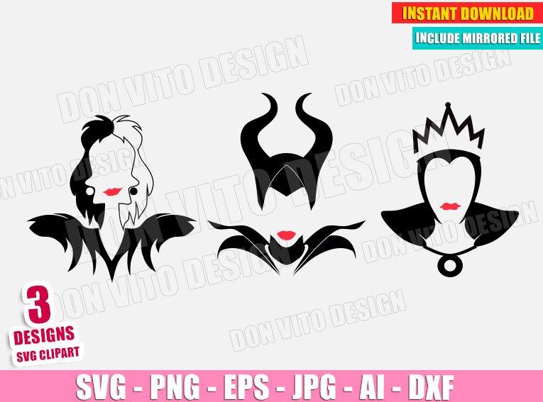 Disney Villains (SVG dxf png) Maleficent - Cruella Deville - Evil Queen Vector Clipart Silhouette Cricut Cut Files T-Shirt Design Girl DIY