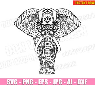 Ethnic Elephant SVG dxf png Mandala cut files image vector clipart - DonVitoDesign Store -