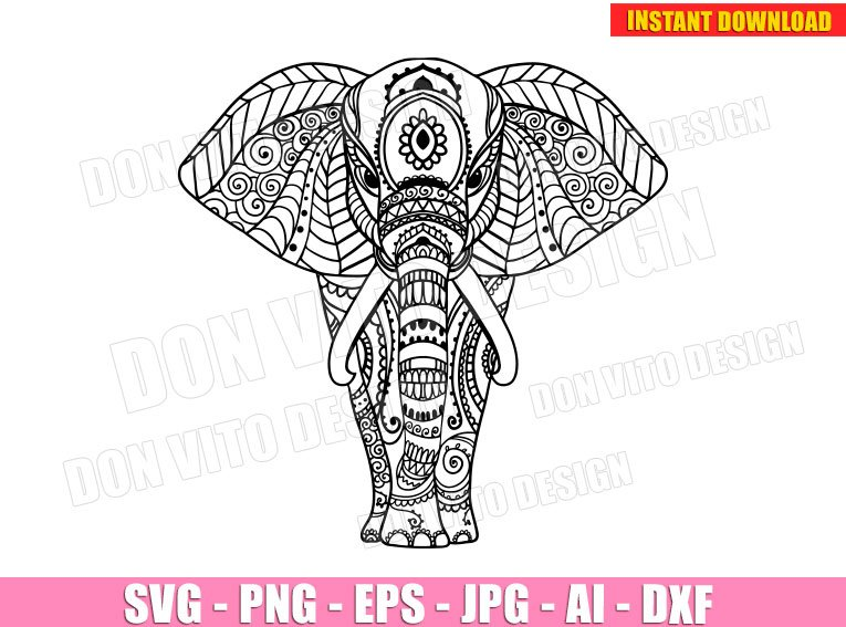 Ethnic Elephant Mandala Svg Dxf Png Elephant Cut Files Circut Clipart
