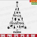 Frozen Christmas Tree (SVG dxf png) Disney Princess Movie Logo Xmas Holiday Vector Clipart Cut Files Silhouette Cricut T-Shirt Design Girl