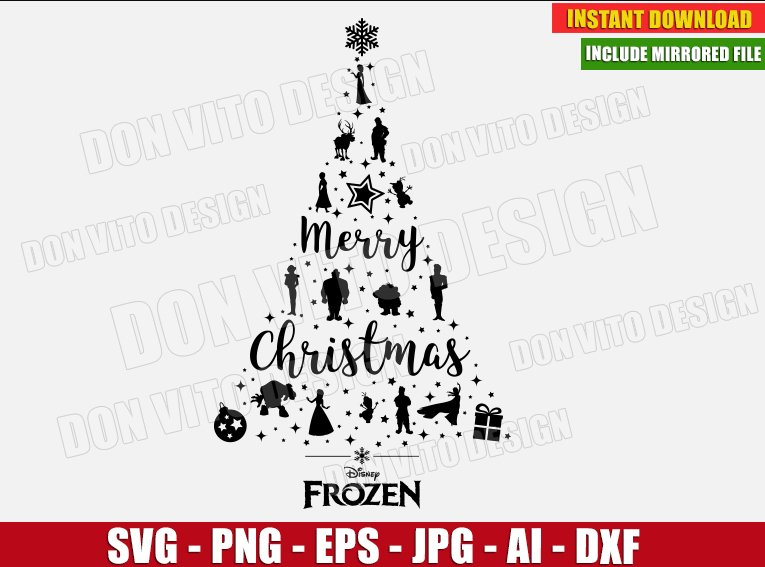 Frozen Christmas Tree Svg Dxf Png Disney Princess Holiday Cut Files