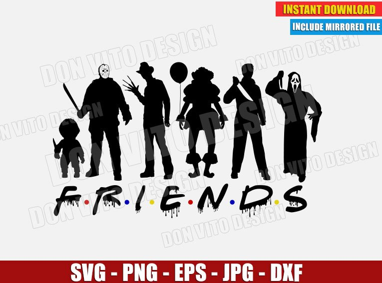 Halloween Friends Logo Svg Dxf Png Horror Movie Squadgoals Cut Files