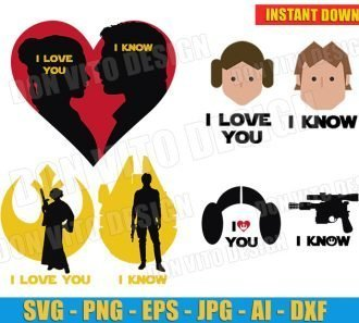 Han Solo & Princess Leia I Love You I Know Bundle - cut files PNG image vector clipart - DonVitoDesign Store