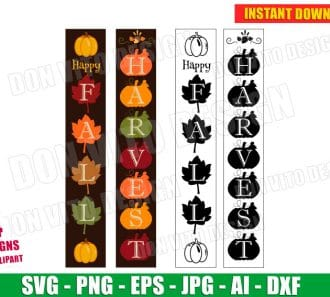Happy Fall Harvest Front Porch Sign SVG dxf png cut files image vector clipart - DonVitoDesign Store -