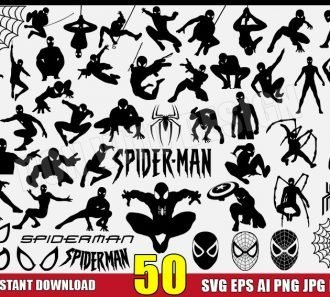 50 Spider-Man Silhouette Bundle (SVG dxf png) cut files PNG image vector clipart - DonVitoDesign Store
