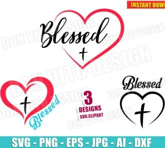 Blessed Heart Cross Bundle (SVG dxf png) cut files PNG image vector clipart - DonVitoDesign Store