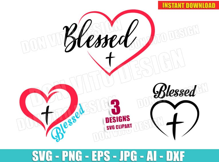 Blessed Heart Cross Bundle Svg Dxf Png Christian Religious Cut Files
