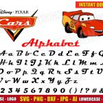 Cars Alphabet + Lightning McQueen Clipart (SVG dxf png) Disney Movie Logo Cut Files Vector Letters Numbers Font Birthday Party Kids Boy Girl