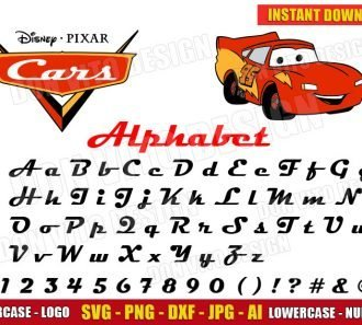 Cars Alphabet + Lightning McQueen Clipart (SVG dxf png) cut files png image vector clipart - DonVitoDesign Store