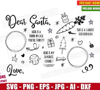 Christmas Dear Santa Tray (SVG dxf png) cut files png image vector clipart - DonVitoDesign Store