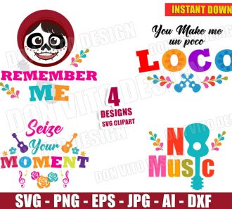 Coco Bundle Clipart (SVG dxf png) cut files PNG image vector clipart - DonVitoDesign Store