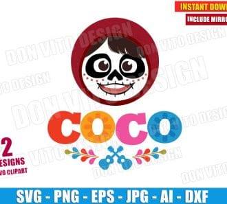 Coco Miguel Skull Face (SVG dxf png) cut files PNG image vector clipart - DonVitoDesign Store