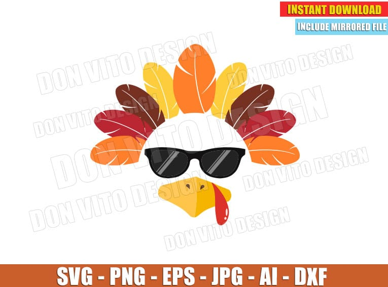 Cool Turkey Face With Glasses Svg Dxf Png Thanksgiving Day Cut Files