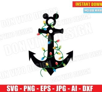 Disney Anchor with Tree Lights (SVG dxf png) cut files PNG image vector clipart - DonVitoDesign Store