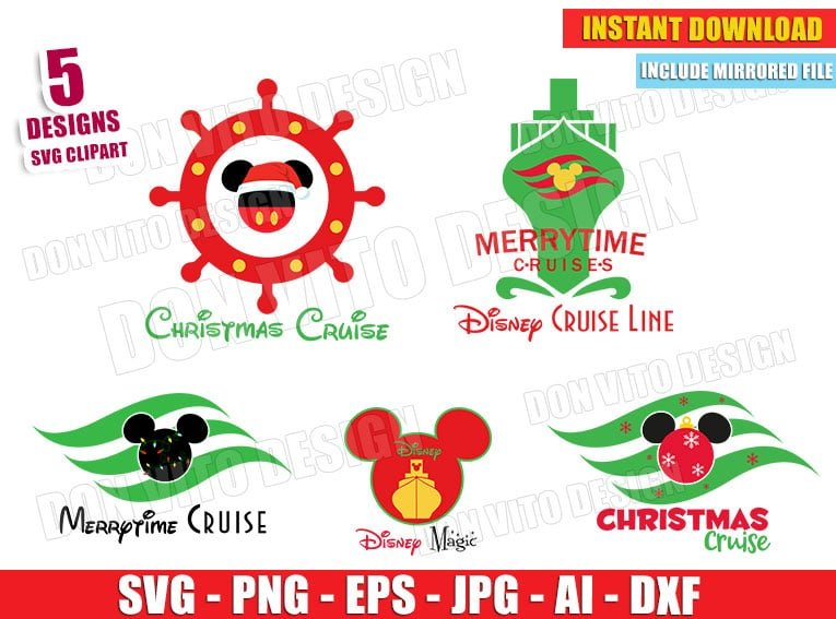 Disney Cruise Line Bundle Svg Dxf Png Christmas Mickey Cut Files