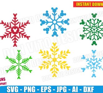 Disney Mickey Mouse Snowflakes (SVG dxf png) cut files png image vector clipart - DonVitoDesign Store