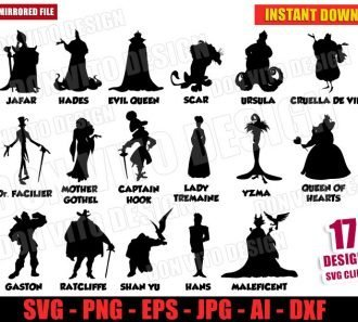 Disney Princess Villains Bundle (SVG dxf png) cut files png image vector clipart - DonVitoDesign Store
