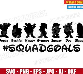 Disney SquadGoals Seven Dwarf (SVG dxf png) cut files PNG image vector clipart - DonVitoDesign Store