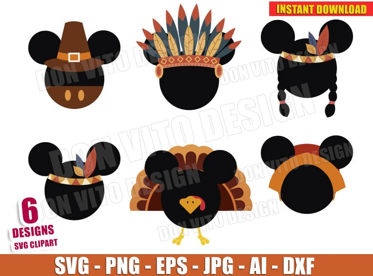 Disney Inspired Thanksgiving Day Clipart Svg Dxf Png Mickey Mouse Cut