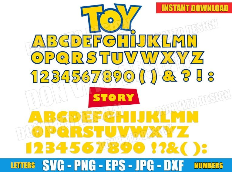 Toy Story Alphabet Vector Clipart (SVG png) cut files png image vector clipart - DonVitoDesign Store