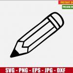 Pencil School Vector Clipart Free (SVG dxf png) Digital Image Cut File Silhouette Cricut T-Shirt Design Freebie DIY