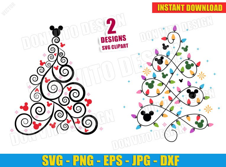 Disney Christmas Tree Mickey Mouse Svg Dxf Png Cut Files Vector